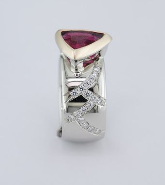 Custom Made Pink Tourmaline Ring With Diamond Accents