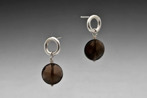 Custom Made Faceted Smoky Quartz Posts, Sterling Silver