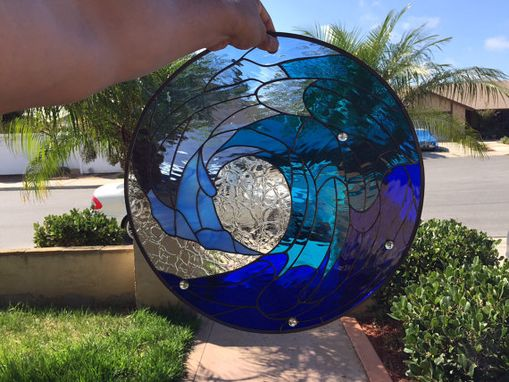 Custom Made Cresting Ocean Blue Wave Stained Glass Windows