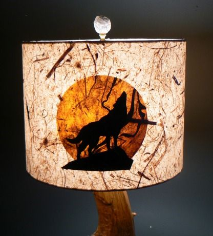Hand Made Howling Wolf Lamp Shade By Lite Amp Shadow Lamp