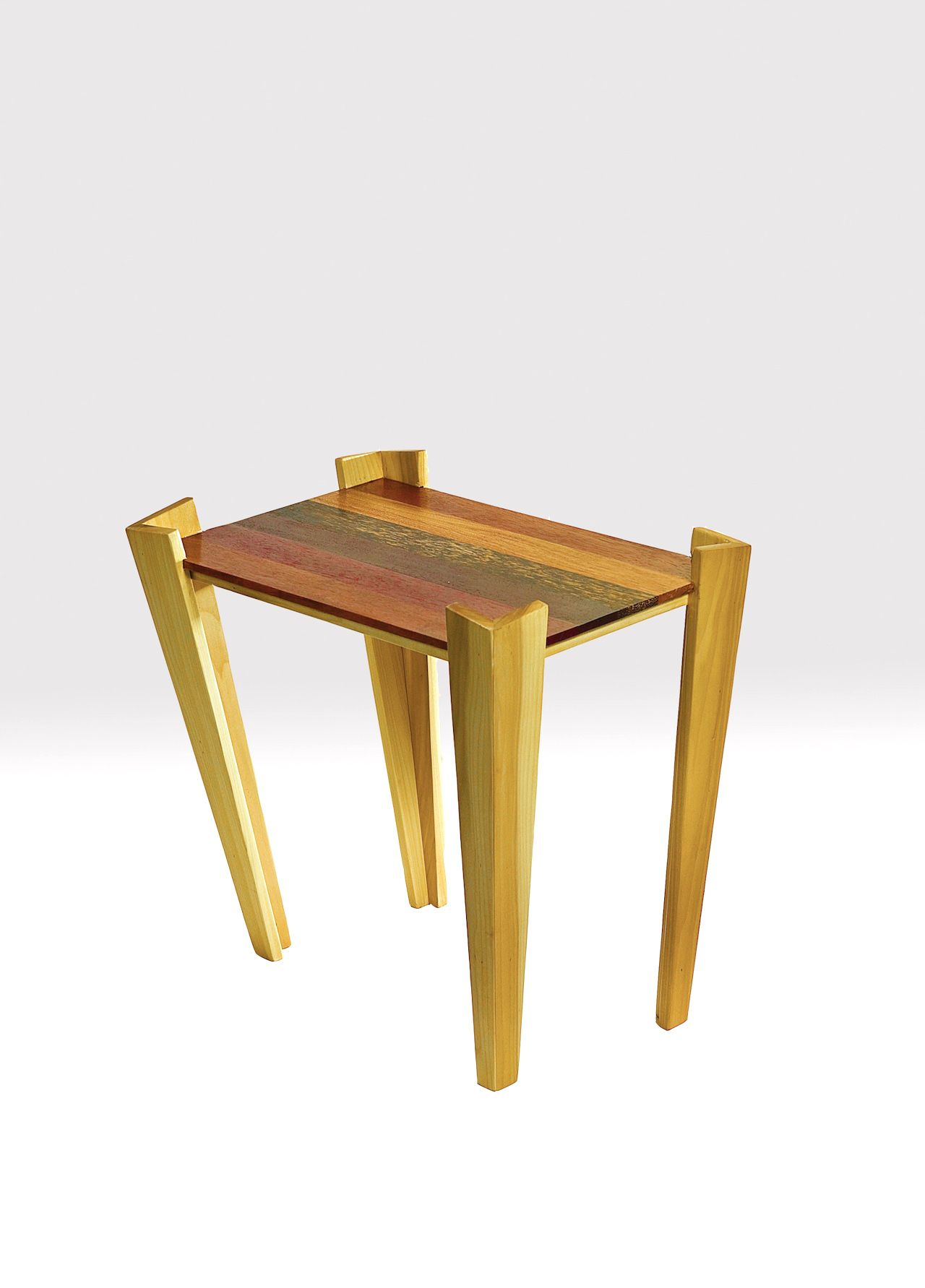 Custom Made Rainbow Tropical Wood And Poplar Contemporary End Table Coffee