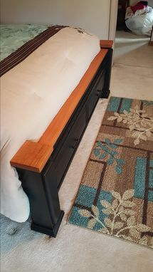 Custom Made Queen Storage Bed W/Cherry Accents
