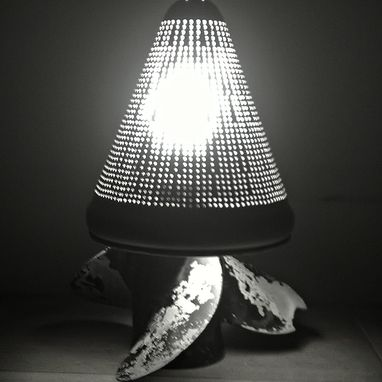 Custom Made Handmade Boat Prop Lamp I Made From An Old Boat Propeller And An Aluminum Food Strainer.