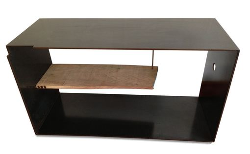 Custom Made Szk Metals 'Siv' Modern Metal Coffee Table Console W/ Wood Shelf