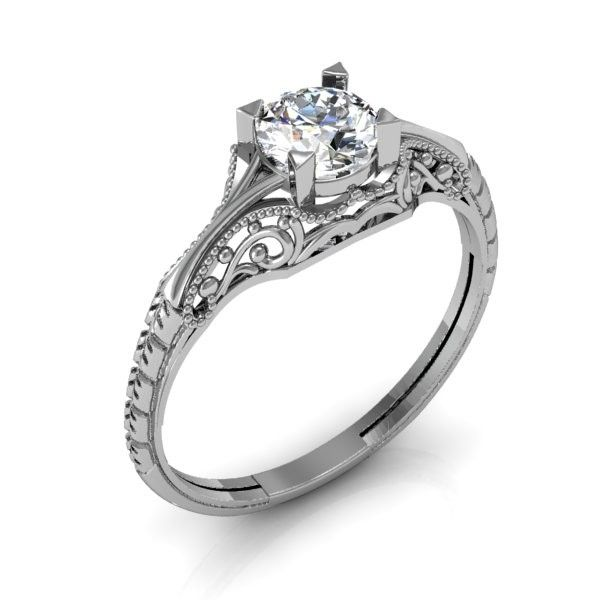 custom filigree engagement ring vintage solitaire
