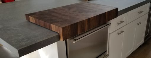 Custom Made Solid Walnut Endgrain Cutting Board With Counter Edge