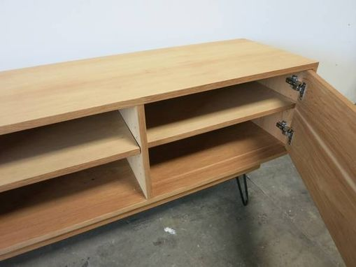 Custom Made Modern Hickory Media Center With Hairpin Legs