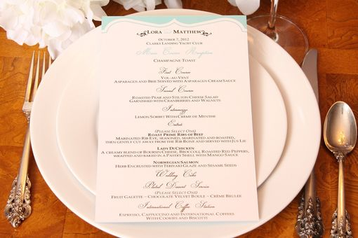Custom Made Wedding Menu, Elegant Reception Menu, Tiffany Blue Personalized Wedding Table Setting