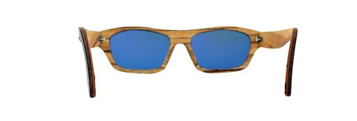 Custom Made Wood Sunglasses With Red Mirrored Polarized Lenses.