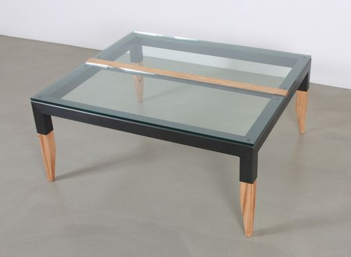 Custom Made 'Squared' Coffee Table In Recycled Steel, Glass And Reclaimed Black Oak