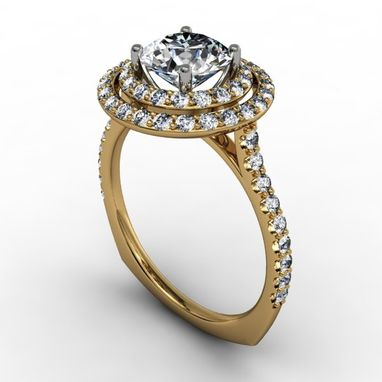 Custom Made Double Diamond Halo Engagement Ring