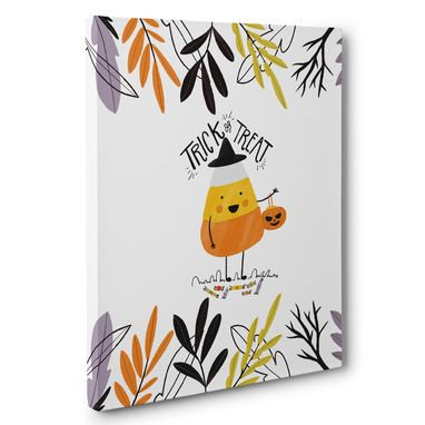 Custom Made Candy Corn Trick Or Treat Halloween Canvas Wall Art