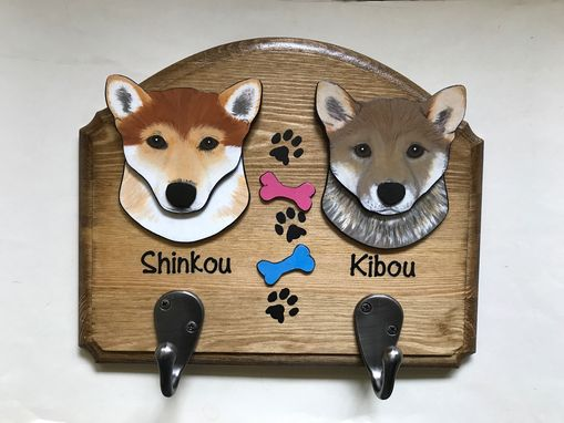 Custom Made Custom 2-Pack Dog Leash Hanger, Pet Portrait