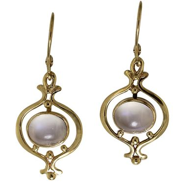 Custom Made Moonstone And Gold Earrings