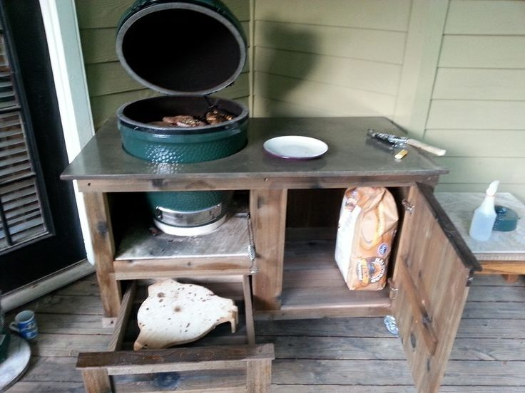 Handmade Tank Collection Big Green Egg Table by Big Green Egg Tables by PoshPatios