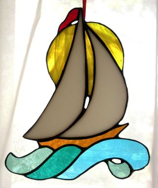 Custom Made Sailboat Over Waves Stained Glass Sun Catcher