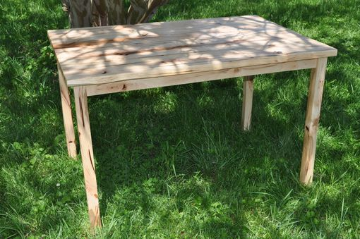 Custom Made Hickory Farm Table With Natural Finish