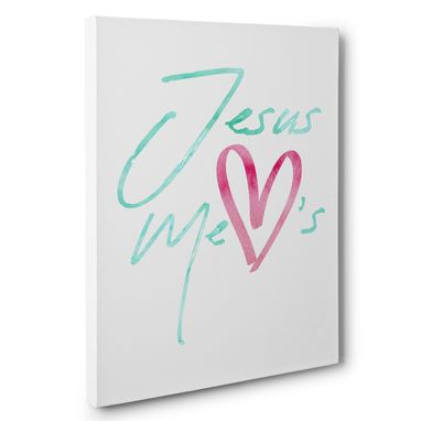 Custom Made Watercolor Jesus Loves Me Canvas Wall Art