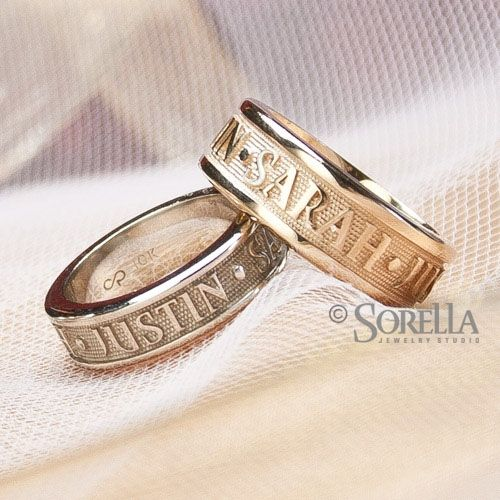Hand Crafted Personalized Message Or Name Ring In 14k Gold By