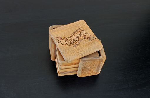 Custom Made Custom Bamboo Coasters, Custom Engraved Coasters --Cst-Bam-Thomlinson