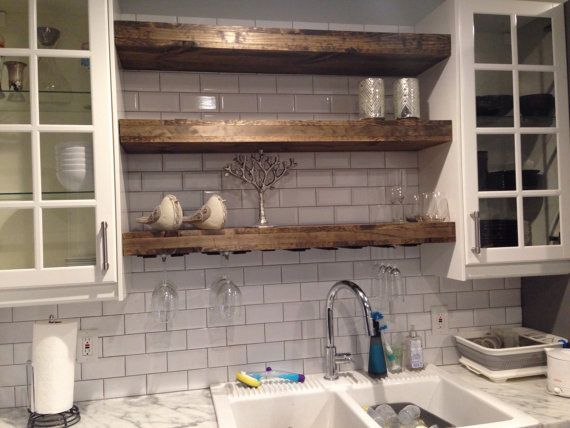Buy A Hand Made Floating Shelf With A Wine Glass Rack Farmhouse