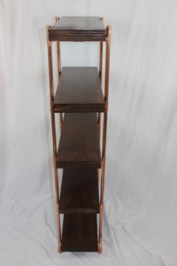 Custom Made Hickory-Stained Birch Plywood & Copper Pipe Shelves