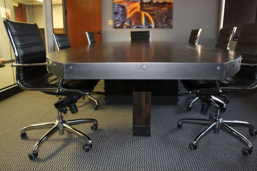 Custom Made Industrial Boat Shape Conference Table