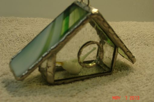 Custom Made Empty Nest Bird House Ornament In Clear Streamer Glass W/ White Glass Bird