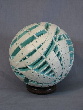 Custom Made White/Turquoise Carved Sphere