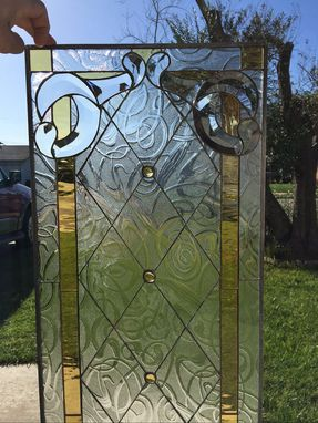 "Custom Made Tudor Leaded Diamonds With A Contemporay ""Squiggle Glass"" Stained Glass & Beveled Window"