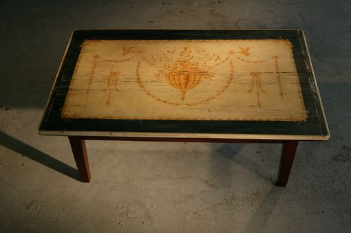 Custom Made French Farm Table With Filigree Hand Painting