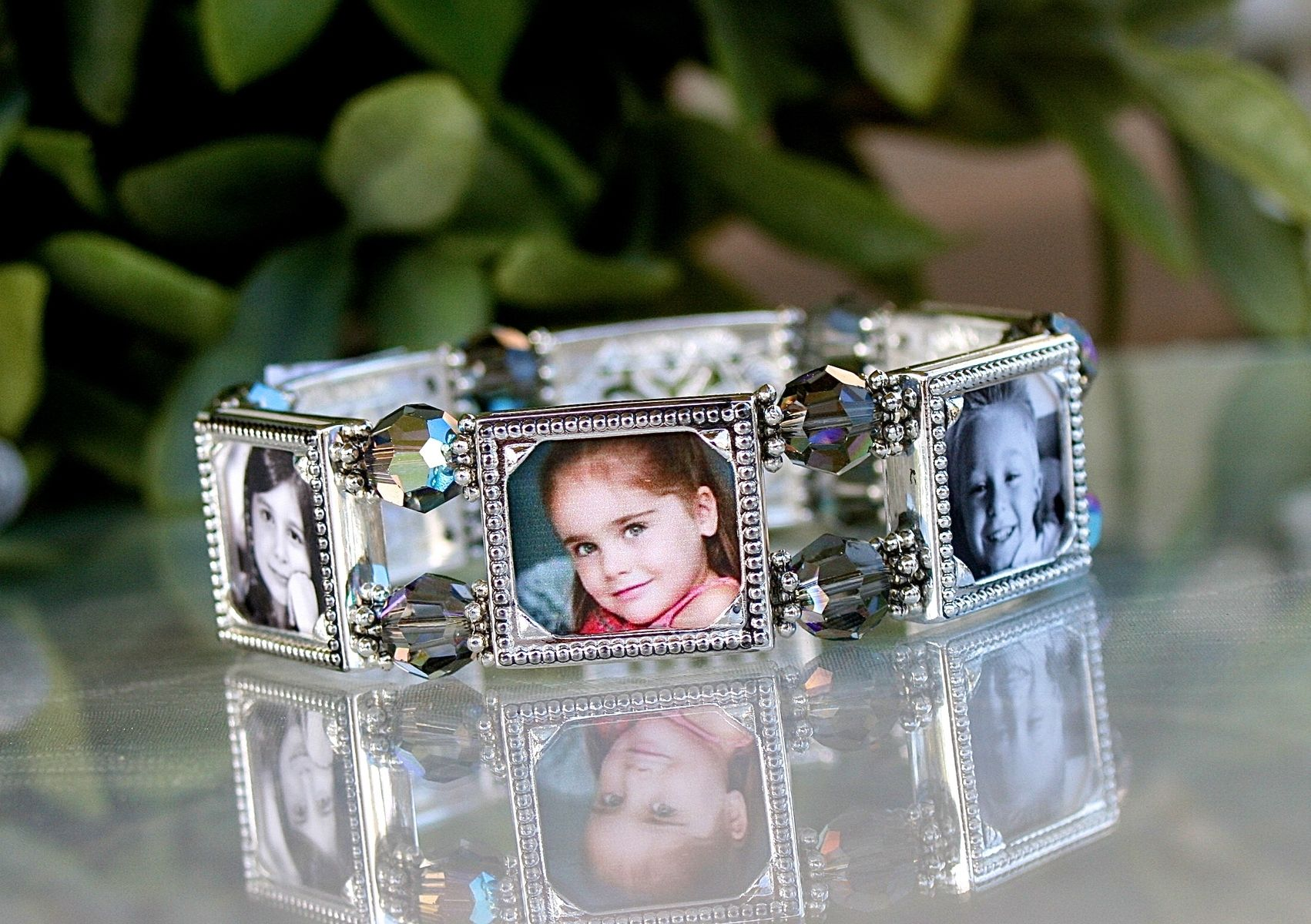 Hand crafted six frame photo bracelet with swarovski and black custom made six frame photo bracelet with swarovski and black diamond crystals jeuxipadfo Images