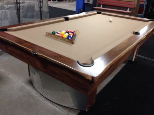 Custom Made Walnut Slab Pool Table With Metal Legs