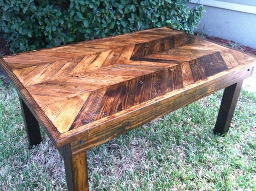 Custom Made Chevron Print Reclaimed Wood Dining Table