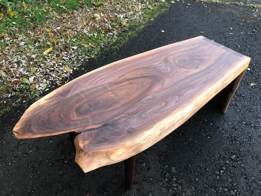 Custom Made Mid Century Modern Style Walnut Coffee Table With Through Dovetails