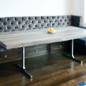 Dining And Kitchen Tables Farmhouse Industrial Modern - Distressed wood dining table with bench