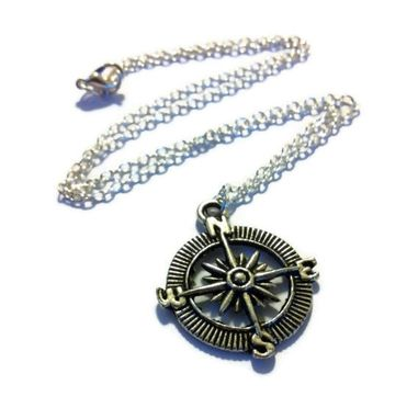 Custom Made Silver Compass Necklace