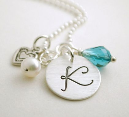 Custom Made Initial Necklace With Pearl, Heart Charm And Birth Crystal - Anniversary Necklace