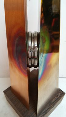 Custom Made Metal Table Sculpture Made Of Bronze Copper And Titanium
