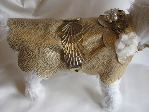 Custom Made Gold Scalloped Shells & Jeweled Flowers On Leather Dog Coat