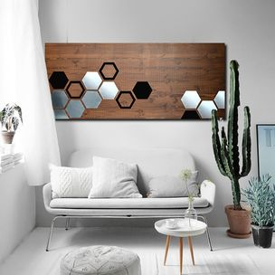 Mod Honeycomb 48x20 Wood Wall Art Metal Home Decor
