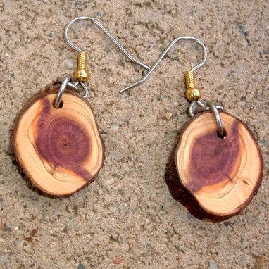 Custom Made Wood Earrings Of Mystery Wood, Very Lightweight..L015