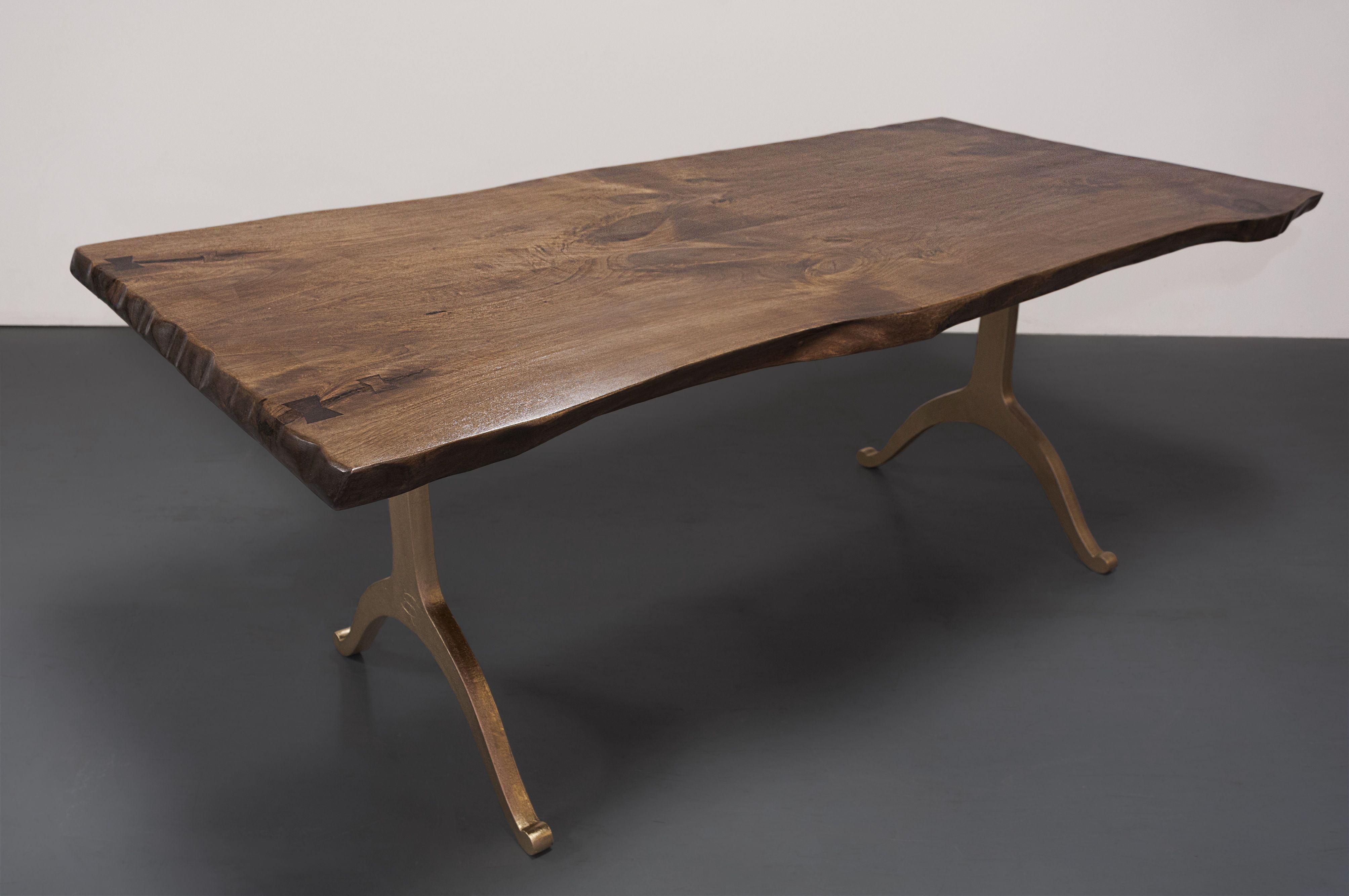 Custom Live Edge Butternut Industrial Style Dining Table by