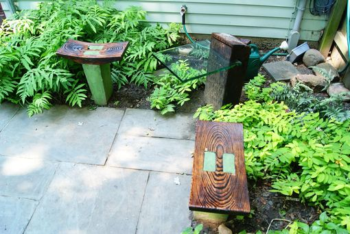 Custom Made Custom Garden Seat/Table In Wood, Glass, And Concrete