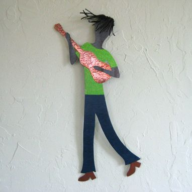 Custom Made Musician Art - Guitar Guy - Metal Wall Sculpture - Reclaimed Metal Green Black 9 X 21