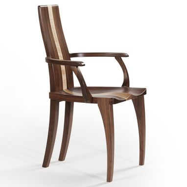 "Custom Made Armchair Dining Chair With Arms, Captain's Chair, Solid Walnut Wood, ""Gazelle Armchair"""