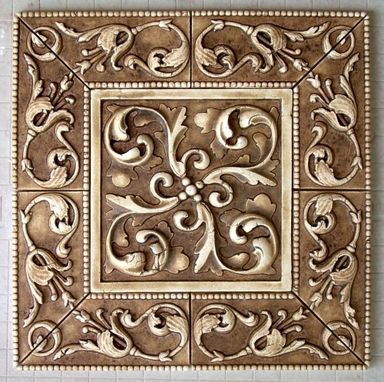 Custom Made Symetrical Scroll And Beaded Liners Stone Washed Tile Insert