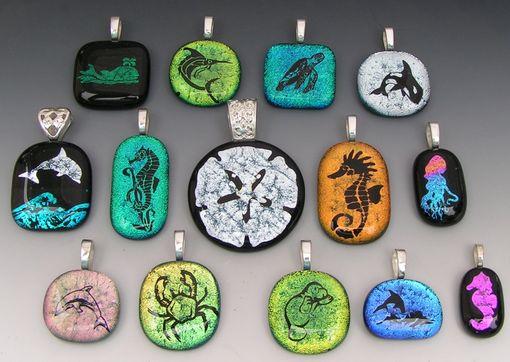 Custom Made Laser Etched Sealife Dichroic Fused Glass Pendants