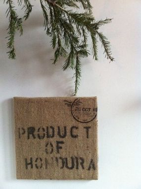 Custom Made Upcycled Burlap Coffee Sack Pin Board