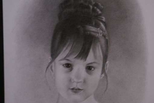 Custom Made Portrait Graphite Hand Drawn Custom Young Girl, Child, Daughter